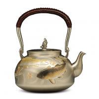 大渊银器 纯银茶壶 雕金鲤鱼银壶价格